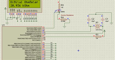 how to place resistor in proteus ohmmeter resistance meter pic24 dspic33 and dspic30 16bit pic microcontoller code proteus