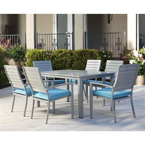 Outdoor 7 Piece Dining Set with Cushion   Wayfair