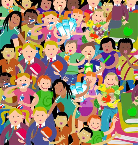 clipart crowd of kids