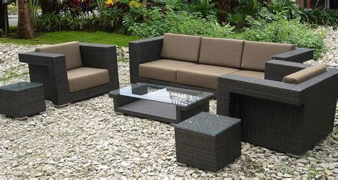 Darlee Vienna 5 Piece Resin Wicker Patio Sectional Set Faux Wicker Patio Furniture