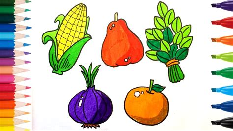 5 fruits and vegetables how to drawing and coloring fruits and vegetables k