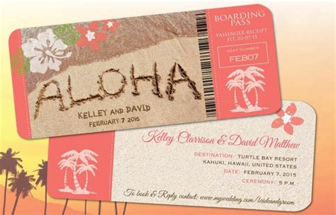 Wedding Announcements Hawaii by Hawaii Wedding Boarding Pass Save The Date Invitations And