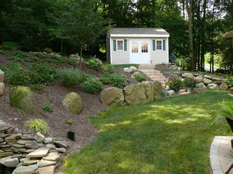 landscaping sloped backyard sloped joy studio design gallery photo