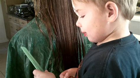 sister curls her brother hair 4 year old cuts sister s hair youtube