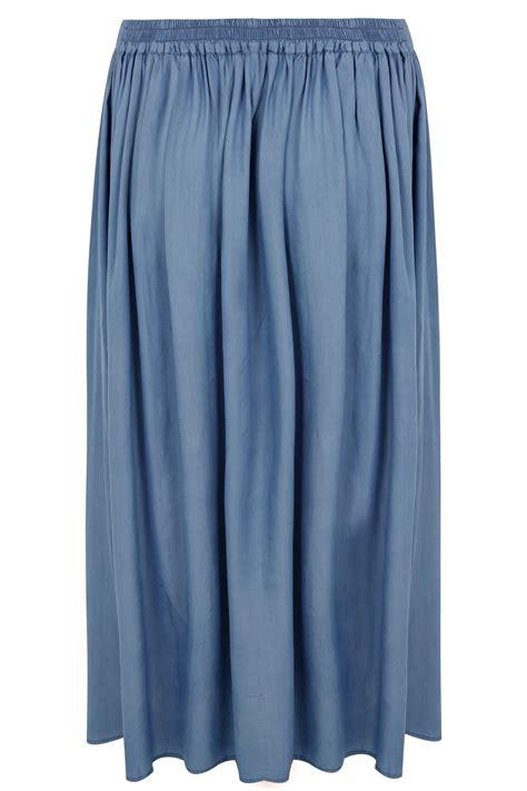 Card 727 Blue yours denim blue tencel maxi skirt plus size 16 to 32