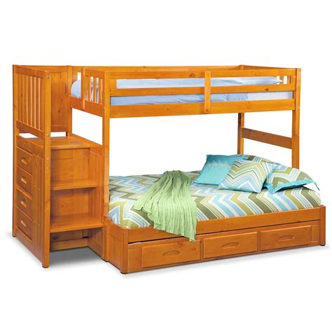 Bunk Beds With Stairs And Drawers Ranger Bunk Bed With Storage Stairs Underbed Drawers Pine Value City Furniture