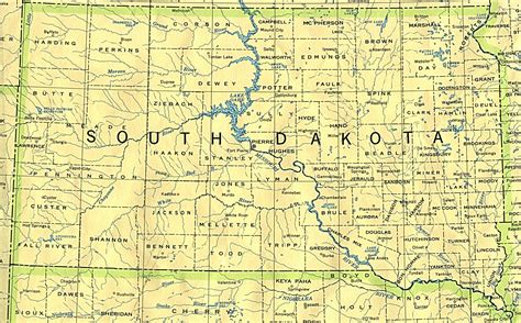 printable south dakota road map south dakota base map