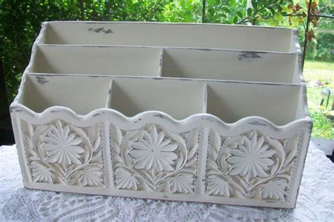 shabby chic decor vintage desk organizer bills letter holder home office decor shabby chic