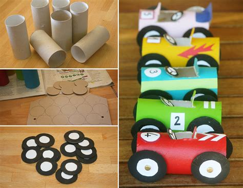 Easy Crafts Using Toilet Paper Rolls - vehicle crafts for preschoolers toilet paper roll race