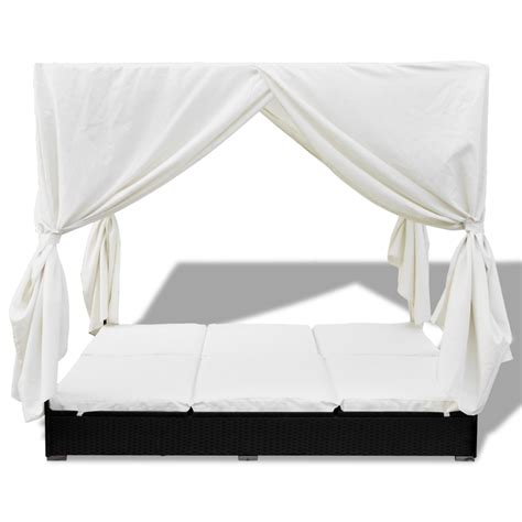rattan curtains luxury outdoor black rattan sun bed 2 persons with curtain