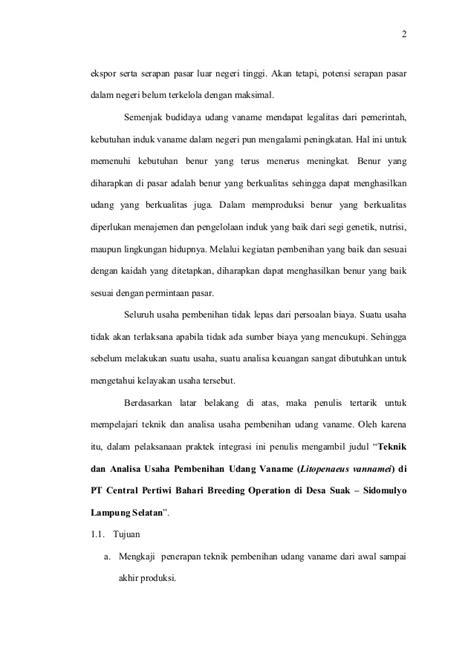 Pakan Udang Vaname Alami 101142739 teknik dan analisa usaha pembenihan udang vaname