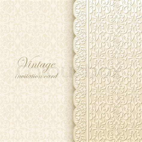 Vintage background, antique greeting card, invitation with lace and floral ornaments, beautiful