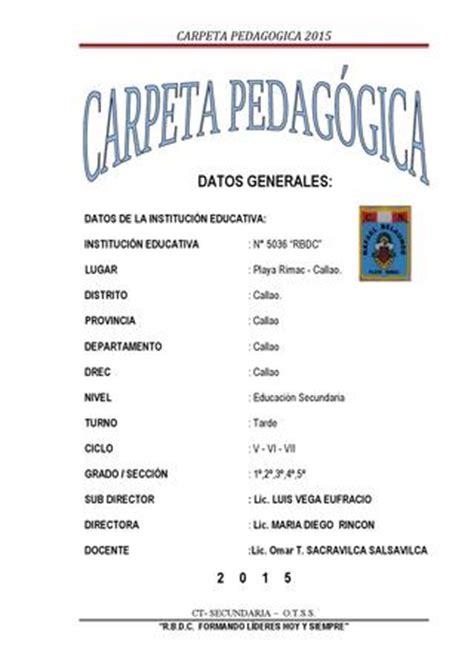 modelo de carpeta pedagogica de educacion secundaria 2016 carpeta pedag 243 gica 2011 by omar t sacravilca salsavilca