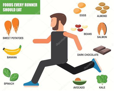 food runner should eat infographics stock vector 169 kjnnt 77350498