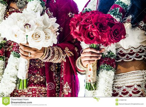 wedding bouquet india two indian wedding bouquets and brides stock photo image