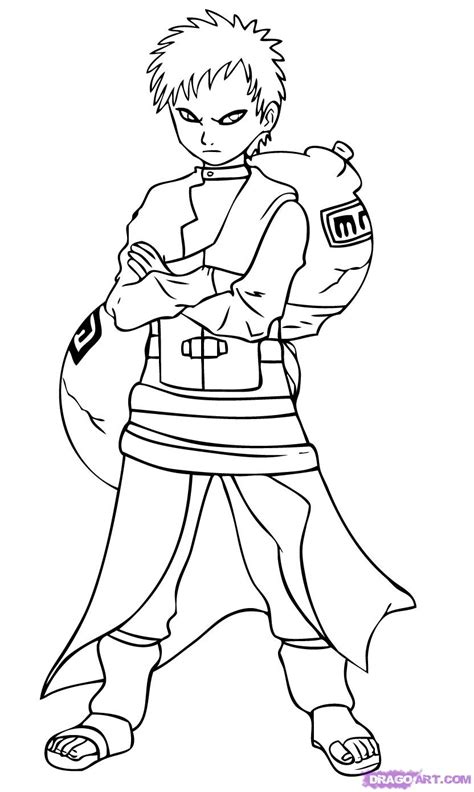 naruto gaara coloring pages how to draw gaara step by step naruto characters anime