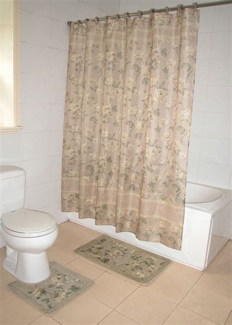 Bathroom Curtain And Rug Sets Home Dynamix Decorators Touch Shower Curtain And Bath Rug Set Dt37 Shower Curtain Sets