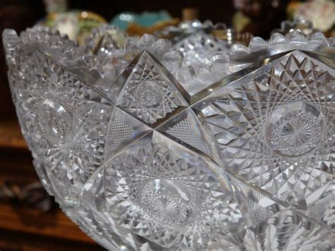 Cut Glass L Base by Large 19th Century Cut Glass Punch Bowl With Silver
