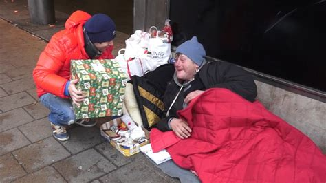 sharing gifts with homeless on christmas eve youtube