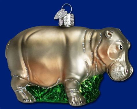 hippopotamus hippo blown glass old world christmas