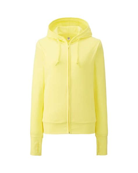 Hoodie Zipper Yellow Claw Leo Cloth uniqlo uv cut sleeve zip hoodie in yellow lyst