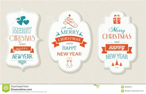 new year label vector merry and happy new year flat label set stock