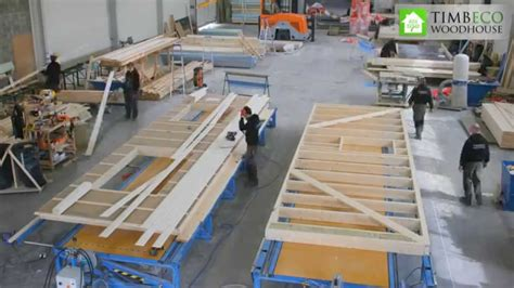 prefab timber frame element closed panel manufacturing