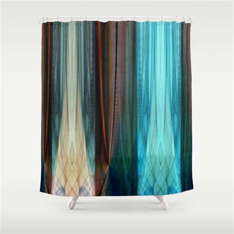 shower curtain blue brown pattern abstract brown and blue shower curtain by
