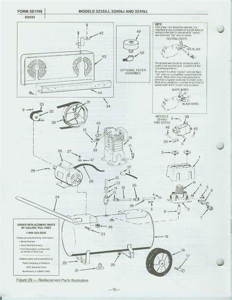 speedaire zj air compressor parts