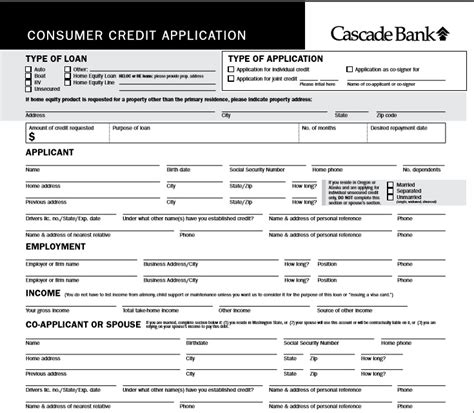 consumer credit application form template 5 professional business credit application template word