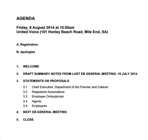weekly meeting agenda template weekly agenda sle 9 documents pdf word