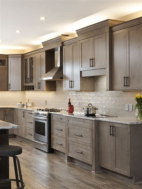 kitchen gallery taupe cabinets  flooring  granite