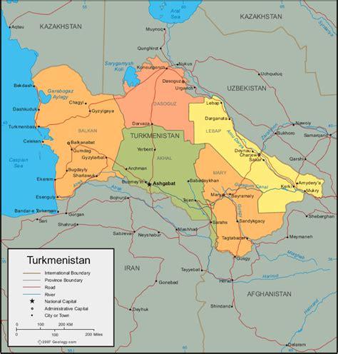 physical map of turkmenistan t 252 rkmenistan haritası