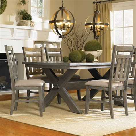 powell turino 5 rectangle dining room set in grey