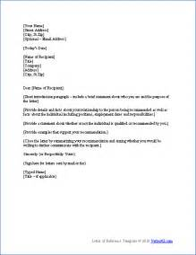 Letters Of Recommendation Templates by Free Letter Of Reference Template Recommendation Letter