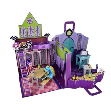 new monster high doll house free shipping new 3d puzzle model house monster high high school playset monster high