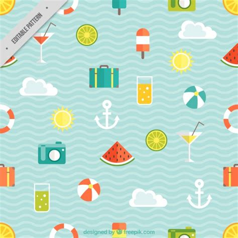 vector pattern summer pattern of summer vacations vector free download
