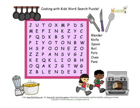 Kitchen Utensil Crossword by Kitchen Word Search Puzzle