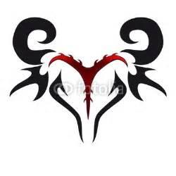 red and black ink tribal aries zodiac head tattoo design
