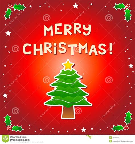 merry christmas message   christmas tree stock vector illustration  winter holidays