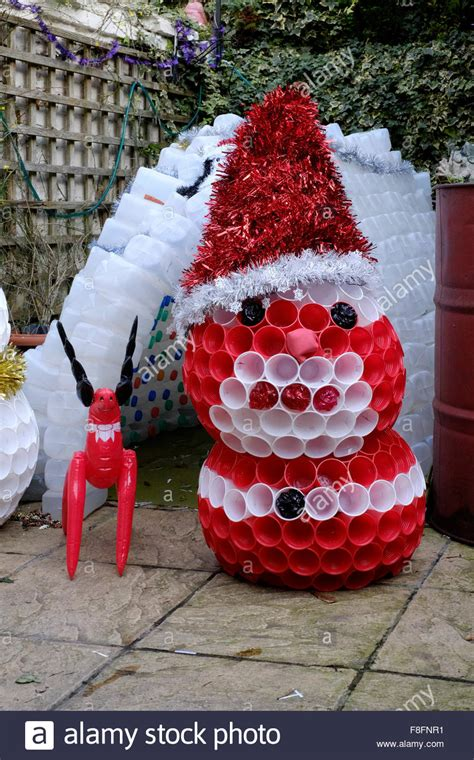 christmas garden igloo and snowman decorations made from