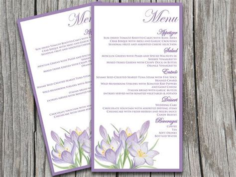 Microsoft Templates Menu Cards by Wedding Menu Card Template Quot Rustic Quot Lavender Lilac