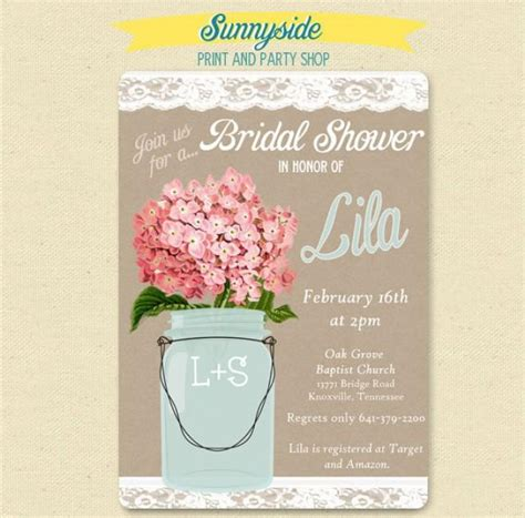 pink hydrangea lace mason jar invitation bridal