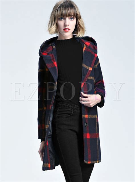 Plaid Hooded Woolen Coat outwear trench coats hit color plaid hooded