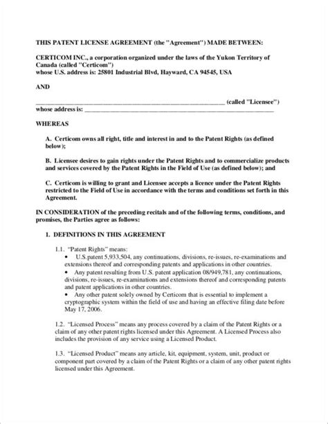 sle licensing agreement template patent license agreement template 28 images patent