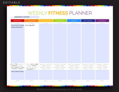 weekly fitness plan template exercise schedule template 10 free sle exle