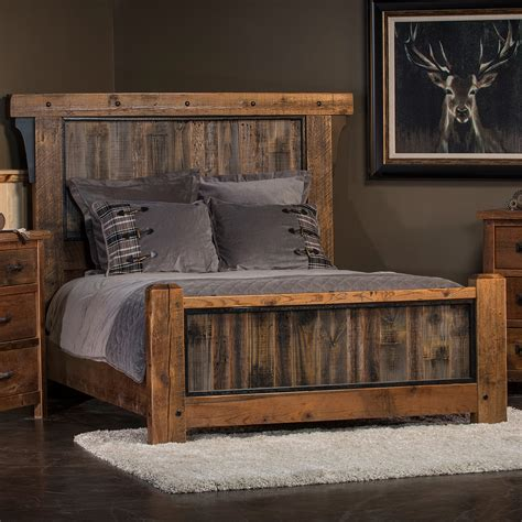 barn wood bed frame industrial gray panels on reclaimed barnwood bed