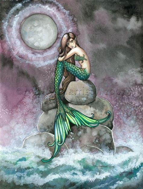 printable mermaid art mermaid fairy fine art print 9 x 12 the emerald mermaid