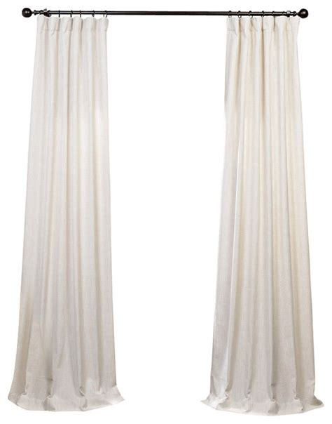 Ivory Linen Curtains Barley Heavy Faux Linen Curtain Single Panel Ivory 50 X 84 Transitional Curtains By Half