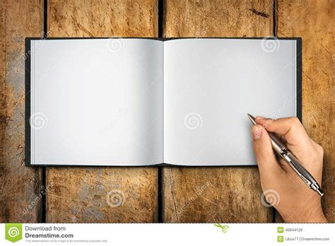 libro writing with pictures how blank book open hand writing pen stock image image 40844129